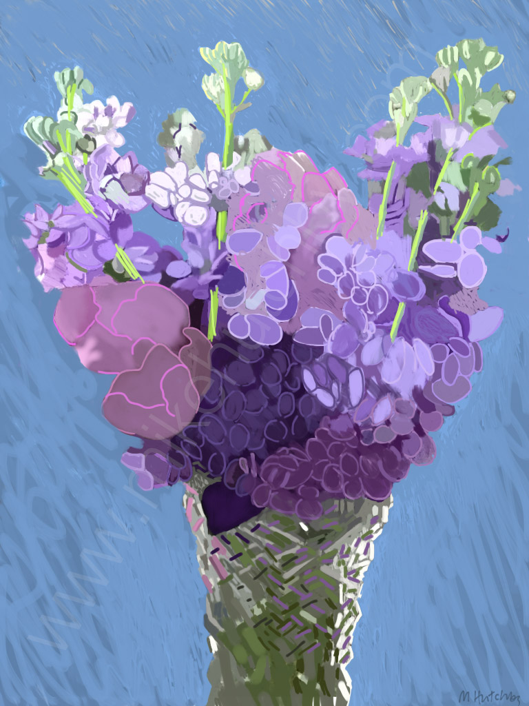 Lilac Night Scented Stock with Peonies